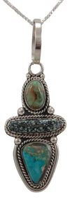 Navajo Native American Chalcosiderite and Turquoise Pendant Necklace by Willeto SKU231668