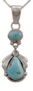 Navajo Native American Sleeping Beauty Turquoise Pendant Necklace by Martha Willeto SKU231671