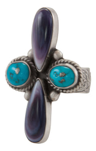Navajo Native American Turquoise and Shell Ring Size 7 by Martha Willeto SKU231677
