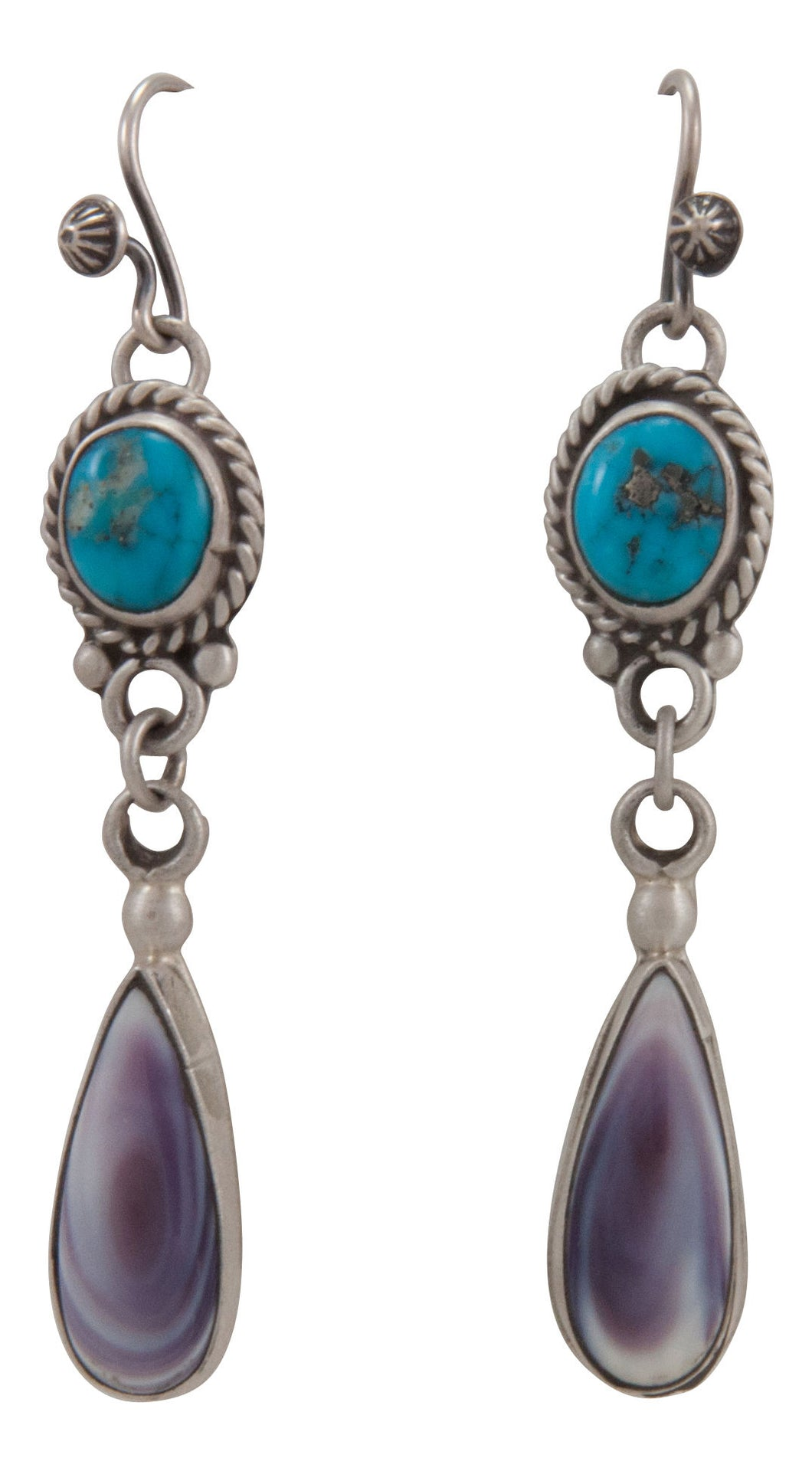 Navajo Native American Sleeping Beauty Turquoise and Shell Earrings by Willeto SKU231678