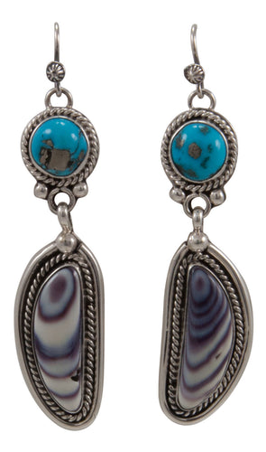 Navajo Native American Sleeping Beauty Turquoise and Shell Earrings by Willeto SKU231679