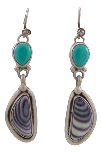 Navajo Native American Kingman Turquoise and Shell Earrings by Willeto SKU231680