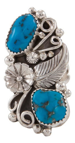 Navajo Native American Kingman Turquoise Ring Size 8 1/2 by Kenneth Jones SKU231685