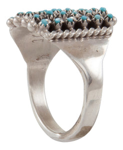 Zuni Native American Sleeping Beauty Turquoise Petit Point Ring Size 8 1/2 by Amesoli SKU231690