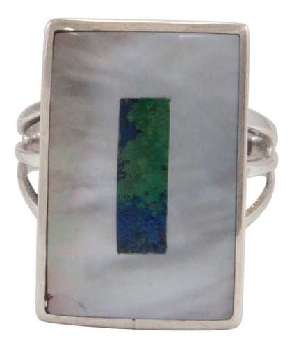 Zuni Native American Mother of Pearl and Turquoise Inlay Ring Size 7 1/4 by Harlan Coonsis SKU231692