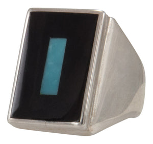 Zuni Native American Turquoise and Jet Inlay Ring Size 10 1/2 by Harlan Coonsis SKU231693