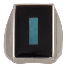 Load image into Gallery viewer, Zuni Native American Turquoise and Jet Inlay Ring Size 10 1/2 by Harlan Coonsis SKU231693