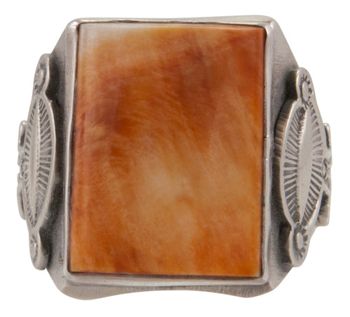 Navajo Native American Orange Spiny Oyster Shell Ring Size 12 by Rita Tom SKU231695