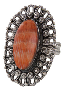 Navajo Native American Orange Spiny Oyster Shell Ring Size 8 1/2 by James SKU231696