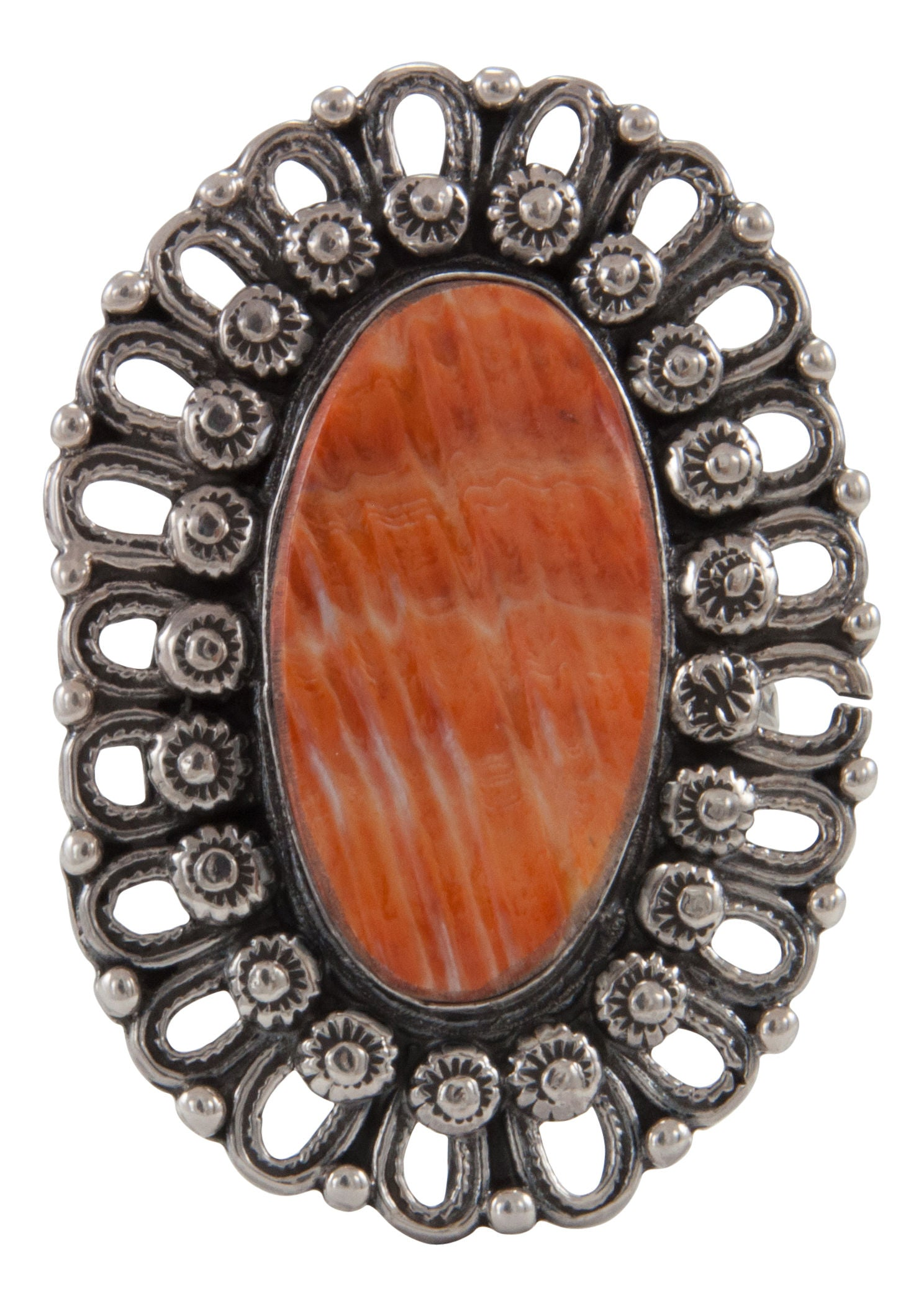 Native American Sterling Silver Square Orange Spiny Oyster Ring Size 6.0