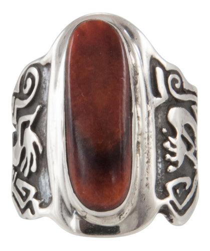 Navajo Native American Orange Spiny Oyster Shell Ring Size 7 1/4 SKU231697