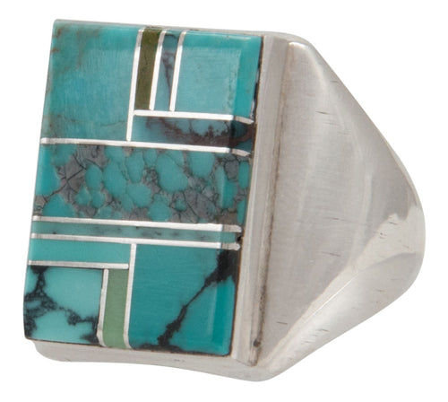 Navajo Native American Turquoise Inlay Ring Size 9 3/4 by Wilbur Grey SKU231698