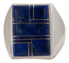 Load image into Gallery viewer, Navajo Native American Lapis Inlay Ring Size 9 1/2 by Wilber Grey SKU231701