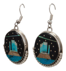 Navajo Native American Turquoise Inlay Butte Earrings by Gilbert Smith SKU231726