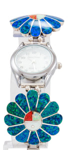 Zuni Native American Lab Opal Inlay Sunface Watch Tips by Denise Siutza SKU231761
