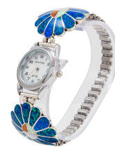 Load image into Gallery viewer, Zuni Native American Lab Opal Inlay Sunface Watch Tips by Denise Siutza SKU231761