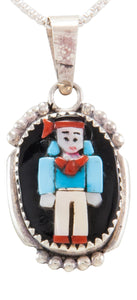 Zuni Native American Indian Turquoise and Coral Pendant by Judith Calavaza SKU231805
