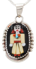 Load image into Gallery viewer, Zuni Native American Indian Turquoise and Coral Pendant by Judith Calavaza SKU231807