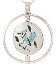 Load image into Gallery viewer, Zuni Native American Blue Bird and Hummingbird Swivel Pendant Necklace SKU231825