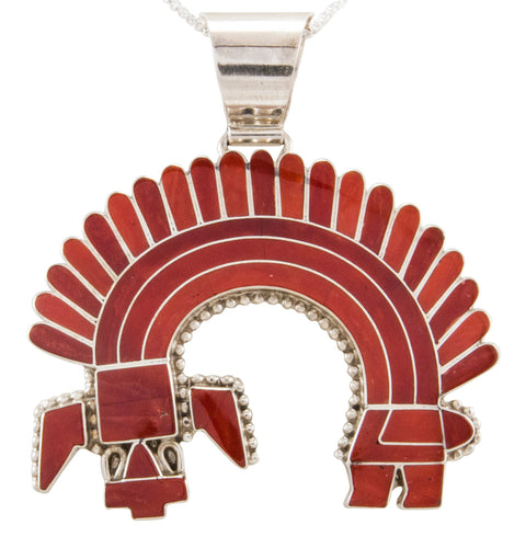 Zuni Native American Red Coral Rainbow Man Pendant Necklace by Bowannie SKU231829