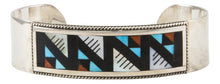 Load image into Gallery viewer, Zuni Native American Turquoise Coral and Shell Inlay Bracelet by Othole SKU231855