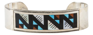 Zuni Native American Turquoise Coral and Shell Inlay Bracelet by Othole SKU231855