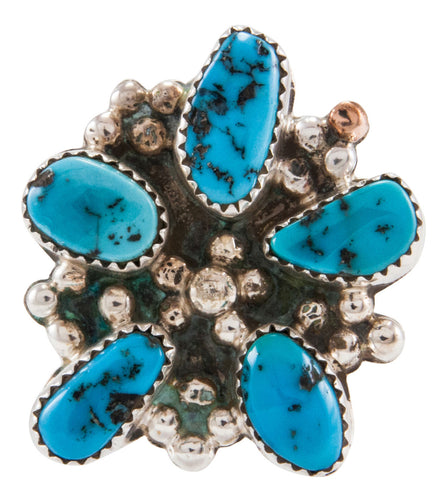 Navajo Native American Kingman Turquoise Ring Size 8 1/4 by Kenneth Jones SKU231868