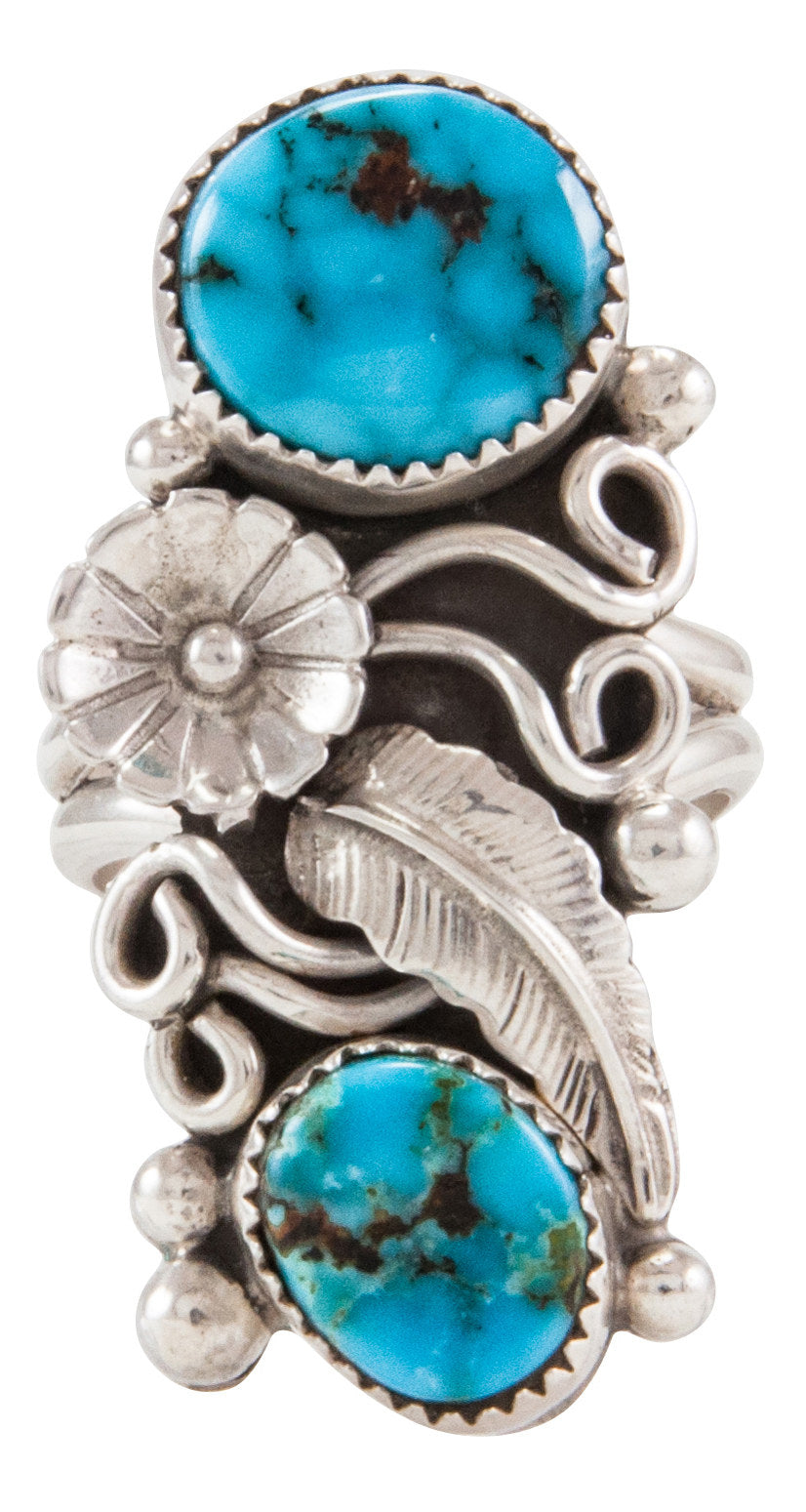 Navajo Native American Kingman Turquoise Ring Size 10 by Kenneth Jones