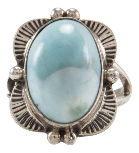 Navajo Native American Larimar Ring Size 8 by Mary Ann Spencer SKU231872