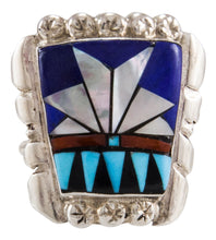 Load image into Gallery viewer, Zuni Native American Turquoise and Lapis Ring Size 8 1/2 by Ola Eriacho SKU231873
