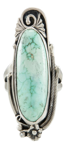 Navajo Native American Kingman Turquoise Ring Size 8 by Lorenzo Juan