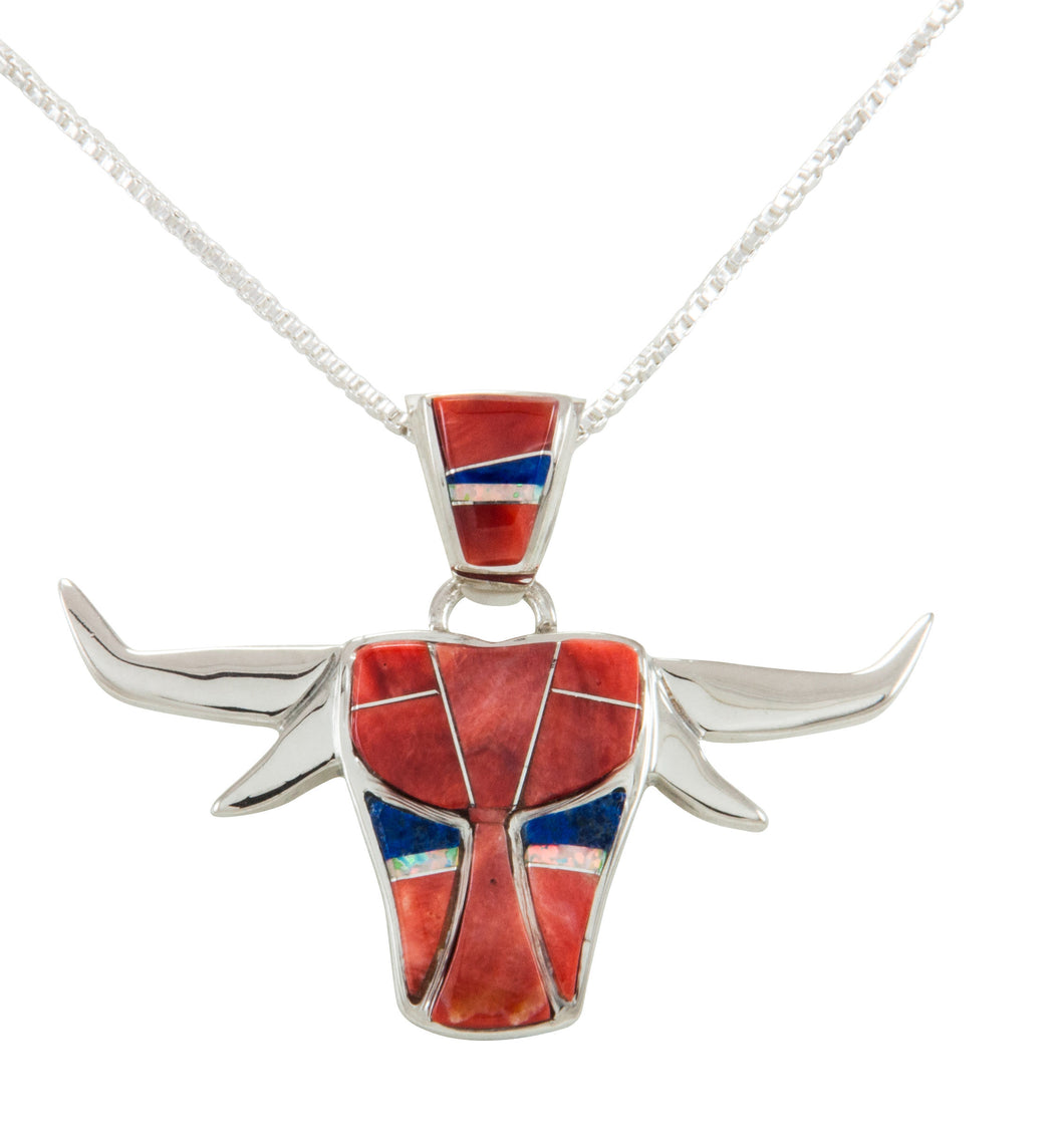 Navajo Native American Orange Shell Inlay Steer Head Pendant Necklace by Calvin Begay SKU231907