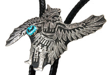 Load image into Gallery viewer, Navajo Native American Kingman Turquoise and Sterling Silver Eagle Dancer Bolo Tie by Richard Singer SKU231915