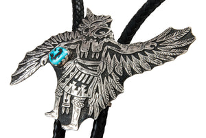 Navajo Native American Kingman Turquoise and Sterling Silver Eagle Dancer Bolo Tie by Richard Singer SKU231915