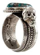 Load image into Gallery viewer, Navajo Native American Turquoise and Skull Ring Size 11 by Everett Jones SKU231923