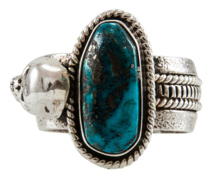 Navajo Native American Turquoise and Skull Ring Size 11 by Everett Jones SKU231923