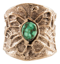Load image into Gallery viewer, Navajo Native American Carico Lake Turquoise and 14K Yellow Gold Ring Size 8 3/4 by Merle House SKU231937