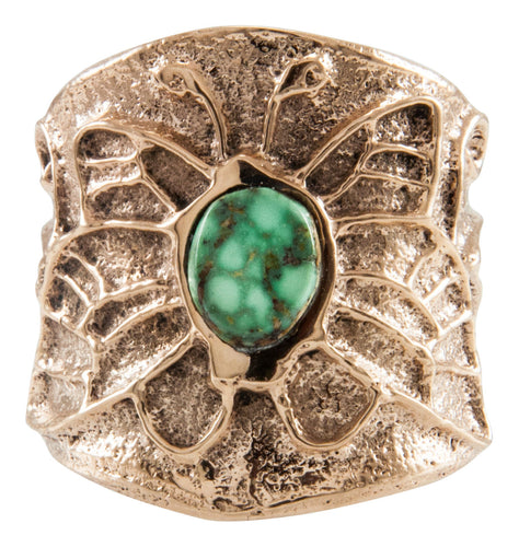 Navajo Native American Carico Lake Turquoise and 14K Yellow Gold Ring Size 8 3/4 by Merle House SKU231937