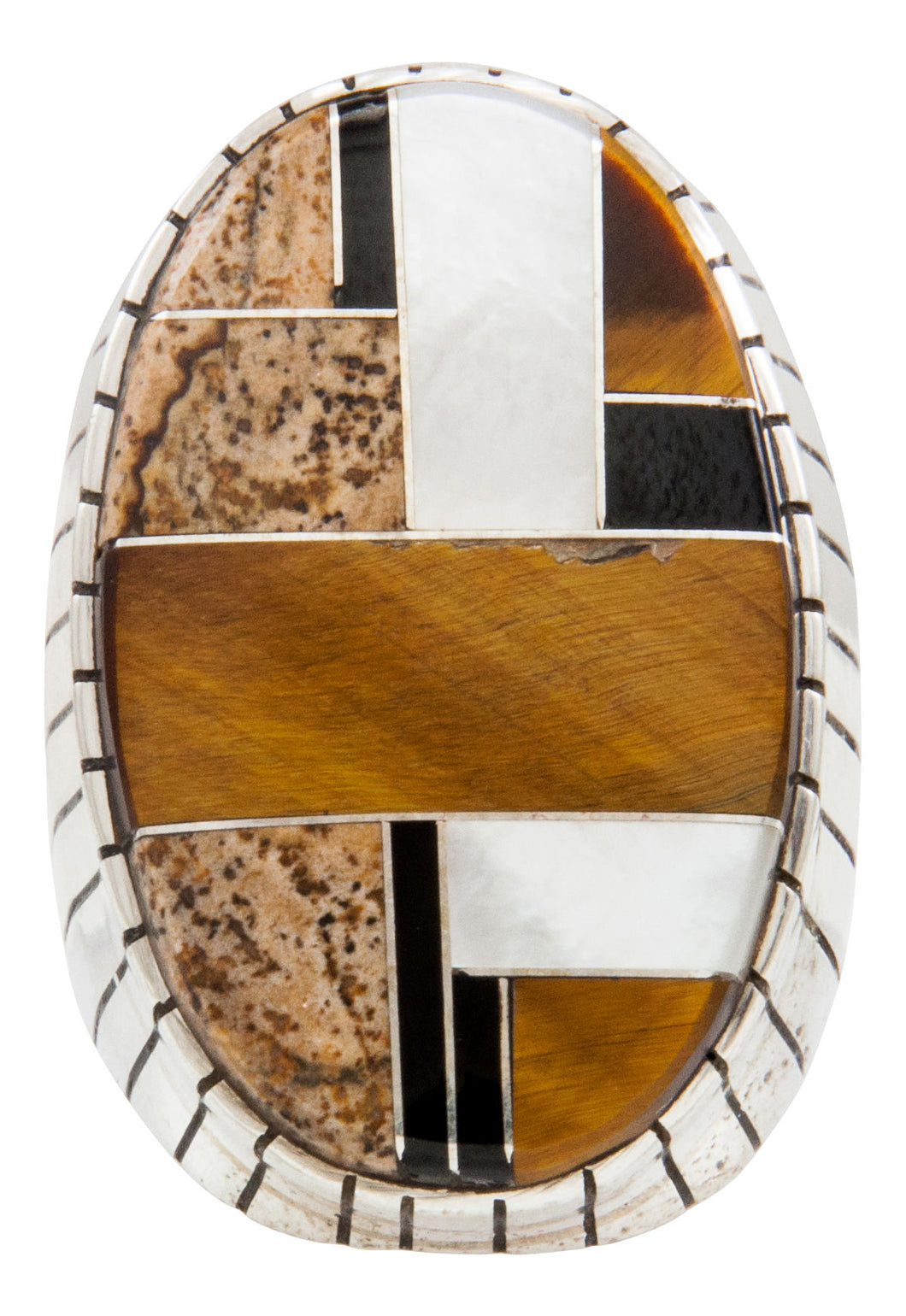 Navajo Native American Tiger Eye and Onyx Inlay Ring Size 10 1/4 by Ray Jack SKU231938