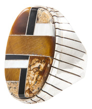 Load image into Gallery viewer, Navajo Native American Tiger Eye and Onyx Inlay Ring Size 10 3/4 by Ray Jack SKU231940