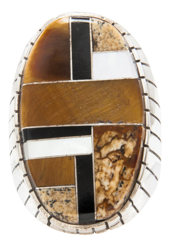 Navajo Native American Tiger Eye and Onyx Inlay Ring Size 10 3/4 by Ray Jack SKU231940