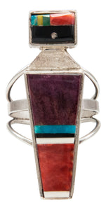 Navajo Native American Turquoise Inlay Yei Ring Size 6 1/4 by Harold Smith SKU231948
