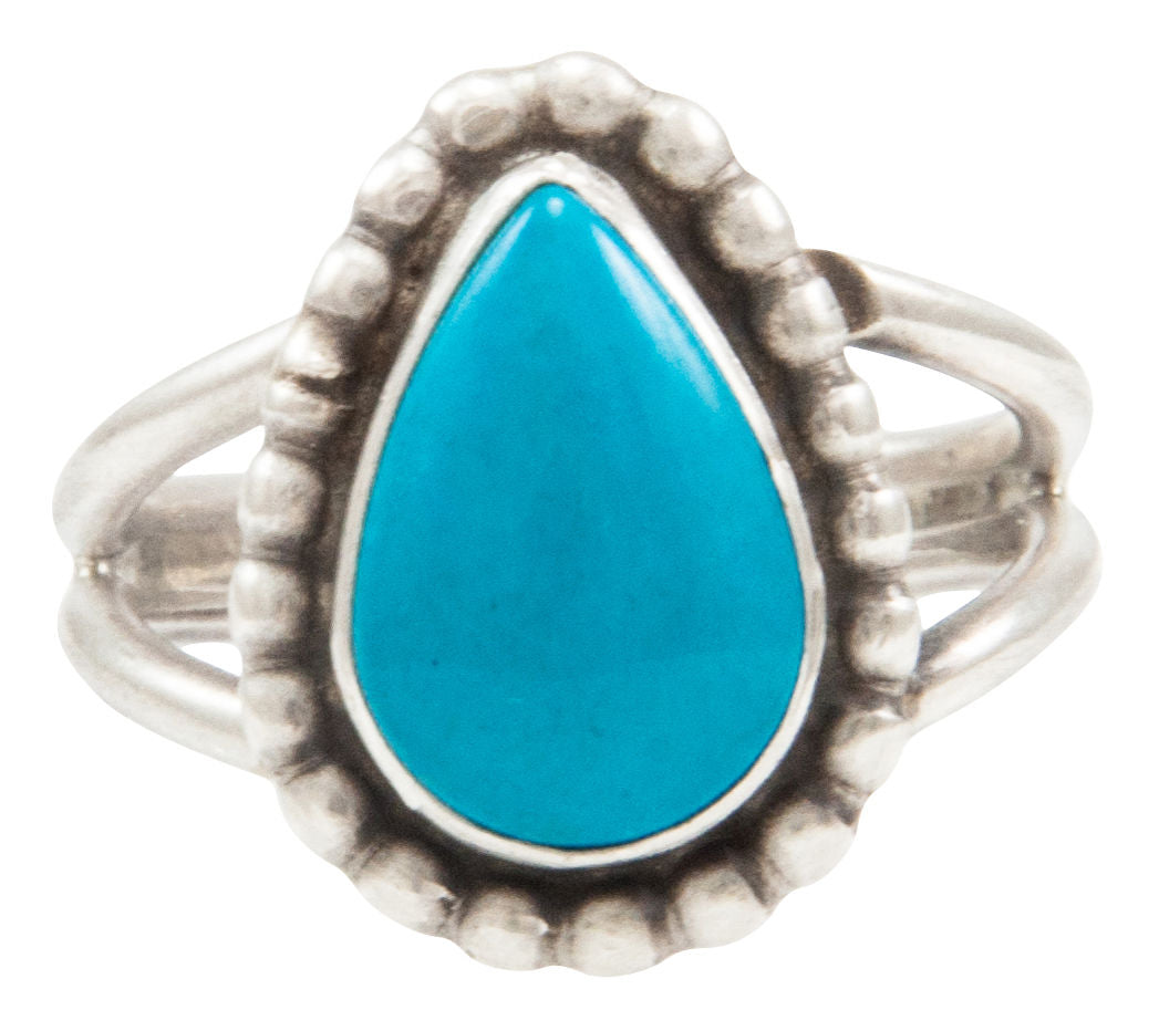 Navajo Native American Kingman Turquoise Ring Size 6 by Ella Cowboy SKU231954