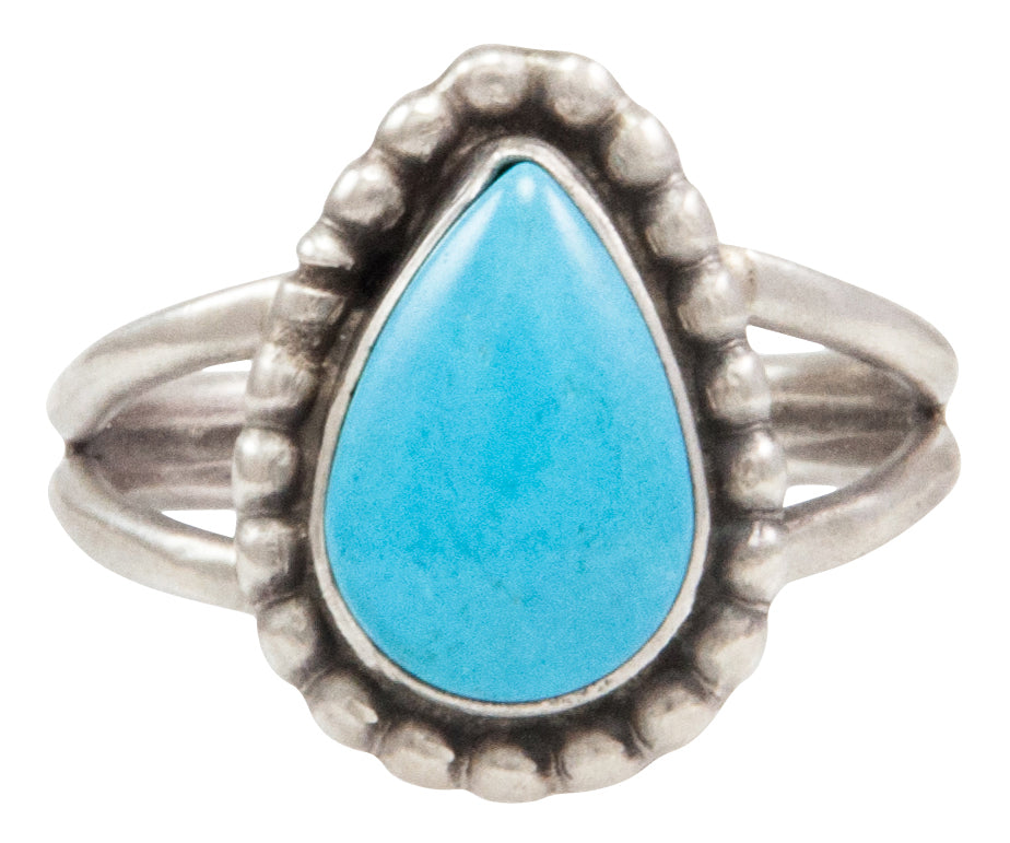 Navajo Native American Kingman Turquoise Ring Size 8 by Ella Cowboy SKU231955