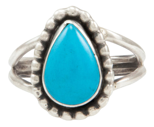 Navajo Native American Kingman Turquoise Ring Size 8 by Ella Cowboy SKU231956