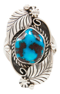 Navajo Native American Kingman Turquoise Ring Size 9 by Emma Linkin SKU231966