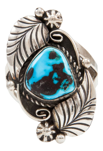 Navajo Native American Kingman Turquoise Ring Size 9 1/4 by Emma Linkin SKU231967