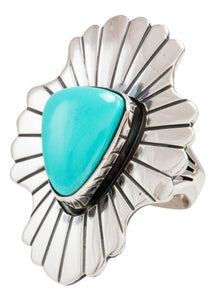 Navajo Native American Sleeping Beauty Turquoise Ring Size 7 by Paul Livingston SKU231974