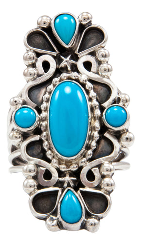 Navajo Native American Sleeping Beauty Turquoise Ring Size 8 3/4 by Kathleen Chavez SKU232011