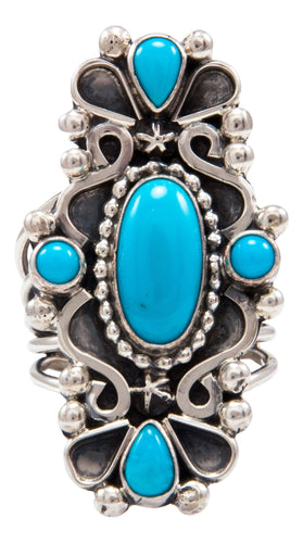 Navajo Native American Sleeping Beauty Turquoise Ring Size 7 3/4 by Kathleen Chavez SKU232014